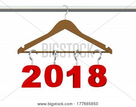 3d rendering of new year 2018 handing on wooden clothes hanger