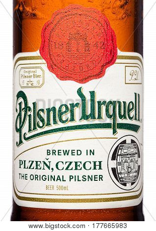 London,uk - March 21, 2017 :  Bottle Label Of Pilsner Urquell Beer On White.it Has Been Produced Sin
