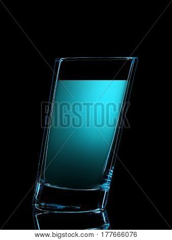 Silhouette of colorful glass for shot with on black background