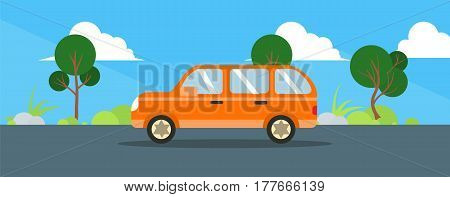 Orange Car drive road landscape in flat style. Vector stock.