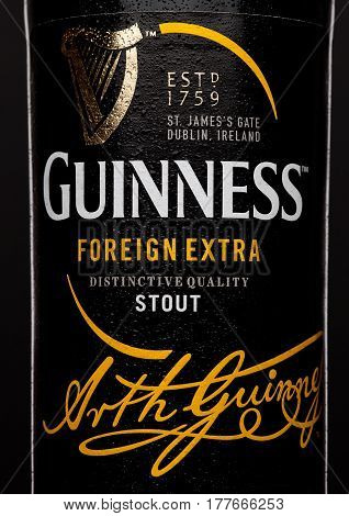 London,uk - March 21, 2017 : Bottle Label Of Guinness Foreign Extra Beer On Black.guinness Beer Has