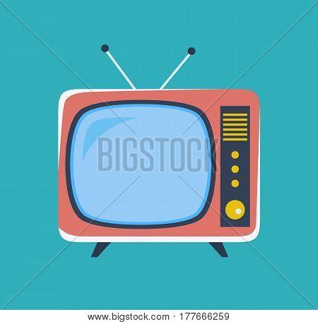 Cute retro tv. Old tv in cartoon style. Vector stock.