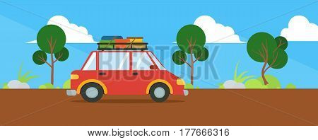 Cartoon landscape with travel car rides on the road. Traveling by car. Vector stock.