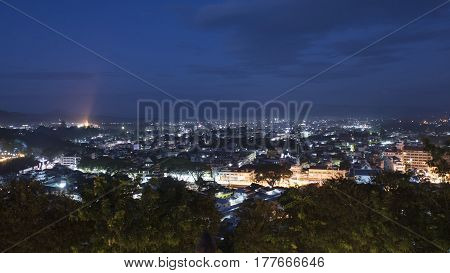 Maesai city northest city in thailand Night cityscape. Northest city for border trade to tachileik city of myanmar ( chiangrai thailand )
