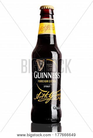 London,uk - March 21, 2017 : Bottle Of Guinness Foreign Extra Beer On White.guinness Beer Has Been P
