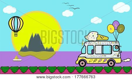 illustration world with ice cream lolly trolly or vanbig sunhot air ballooncloudsboatislandmountainsbirdspath and sea or ocean for games and cartoon