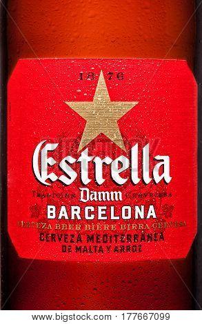 London,uk - March 21, 2017 : Bottle Label Of Estrella Damm Beer On White Background, Estrella Damm I
