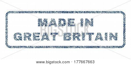 Made In Great Britain text textile seal stamp watermark. Blue jeans fabric vectorized texture. Vector tag inside rounded rectangular shape. Rubber sign with fiber textile structure.