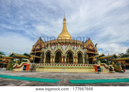 Kaba aye Pagoda famous place in Yangon Myanmar with clear blue sky.