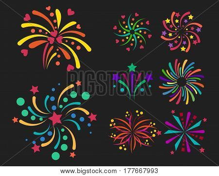 Firework vector icon isolated illustration celebration holiday event night new year fire festival explosion light festive party fun birthday bright.