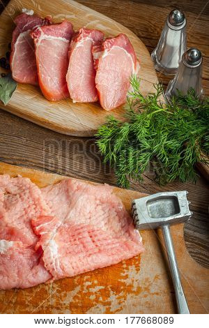 Slices Of Raw Pork.