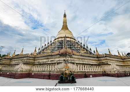 Famous pagoda in Bago. Tthe Mahazedi the Great Stupa built by King Bayinnaung in 1560 Bago Myanmar