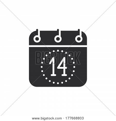 Calendar Fourteenth of December icon vector filled flat sign solid pictogram isolated on white. Valentines day symbol logo illustration