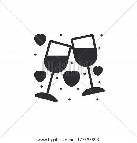 Clinking Wine Glasses Stemware and hearts icon vector filled flat sign solid pictogram isolated on white. Symbol logo illustration