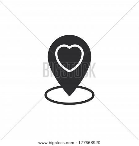 Favorite location marker. Map pin pointer with heart icon vector filled flat sign solid pictogram isolated on white. Symbol logo illustration