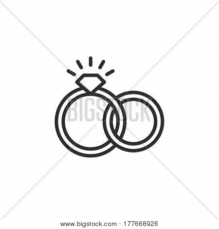 Engagement wedding rings line icon outline vector sign linear pictogram isolated on white. Symbol logo illustration