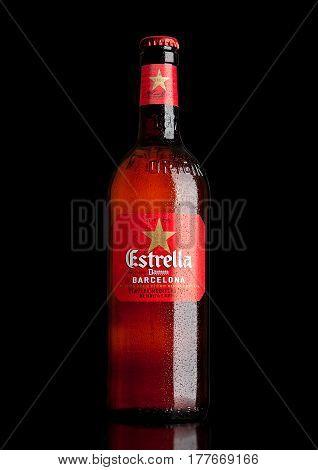London,uk - March 21, 2017 : Bottle Of Estrella Damm Beer On Black Background, Estrella Damm Is A Pi