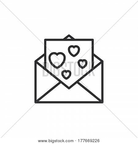 Envelope with love message letter with hearts line icon outline vector sign linear pictogram isolated on white. Symbol logo illustration
