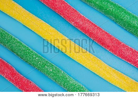 Red, green and yellow gummy candy (licorice) sweets