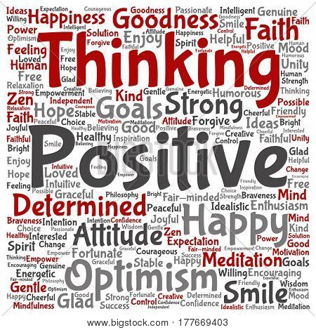 Vector concept or conceptual positive thinking, happy or strong attitude square word cloud isolated on background