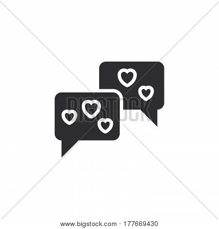 Speech bubbles with hearts icon vector filled flat sign solid pictogram isolated on white. Love chat symbol logo illustration