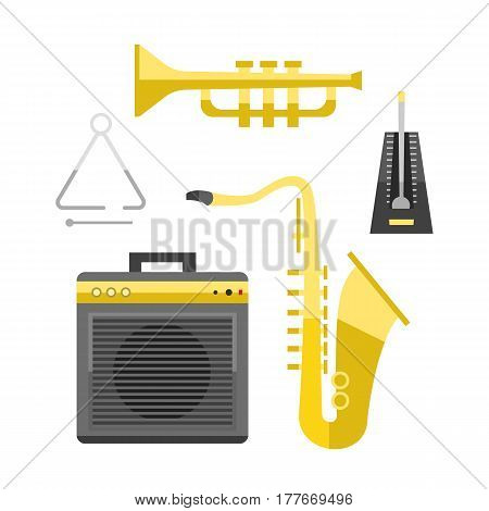 Saxophone icon music classical sound instrument vector illustration and brass entertainment golden band design equipment blues musician concert sax. Orchestra play symbol graphic.