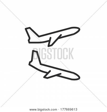 Plane landing takeoff line icon outline vector sign linear pictogram isolated on white. Flight departures arrivals symbol logo illustration