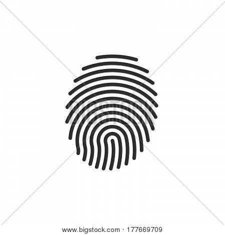 Fingerprint line icon vector sign linear pictogram isolated on white. Symbol logo illustration
