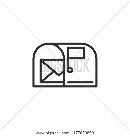 Mail box with letter line icon outline vector sign linear pictogram isolated on white. Symbol logo illustration