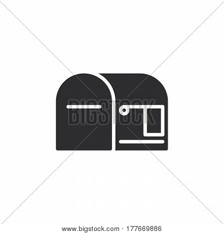 Mail box empty icon vector filled flat sign solid pictogram isolated on white. Symbol logo illustration