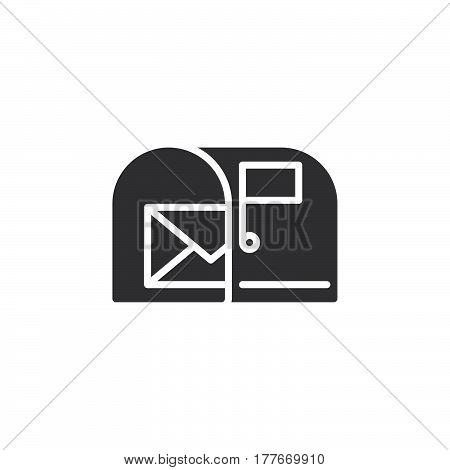 Mail box with letter icon vector filled flat sign solid pictogram isolated on white. Symbol logo illustration