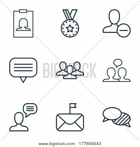Set Of 9 Social Network Icons. Includes Medal, Significant Letter, Speaking And Other Symbols. Beautiful Design Elements.