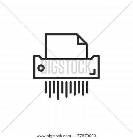 Paper shredder line icon outline vector sign linear pictogram isolated on white. Symbol logo illustration
