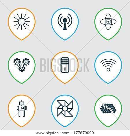 Set Of 9 Robotics Icons. Includes Wireless Communications, Laptop Ventilator, Lightness Mode And Other Symbols. Beautiful Design Elements.