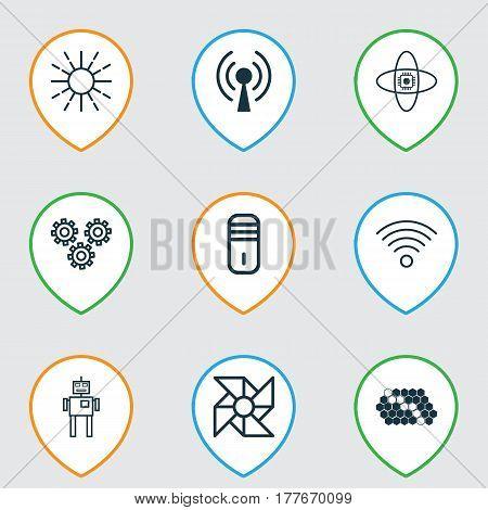 Set Of 9 Robotics Icons. Includes Wireless Communications, Laptop Ventilator, Lightness Mode And Other Symbols. Beautiful Design Elements.