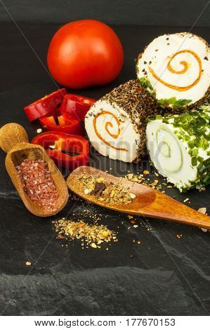 Spicy cheese. Homework cheese to eat. Cheese and spices. Advertising for the sale