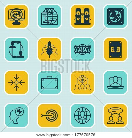 Set Of 16 Business Management Icons. Includes Collaborative Solution, Authentication, Portfolio And Other Symbols. Beautiful Design Elements.