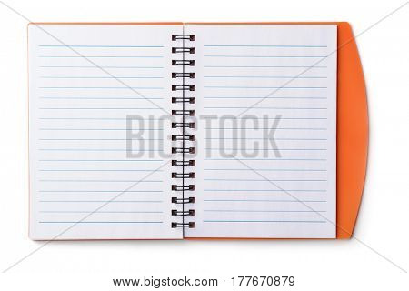 Top view of open blank notebook isolated on white