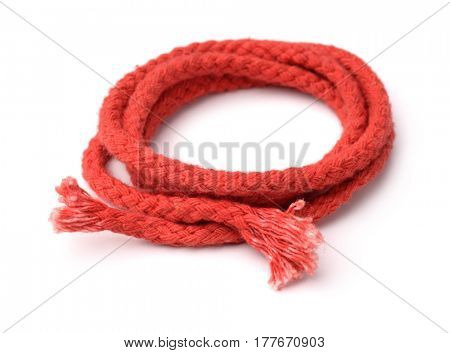 Old red rope isolated on white