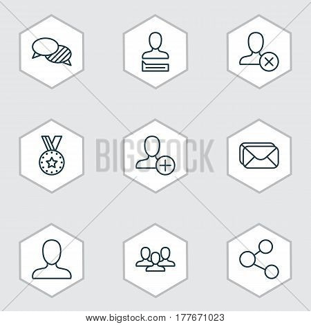 Set Of 9 Social Icons. Includes Web Profile, Team, Publication And Other Symbols. Beautiful Design Elements.