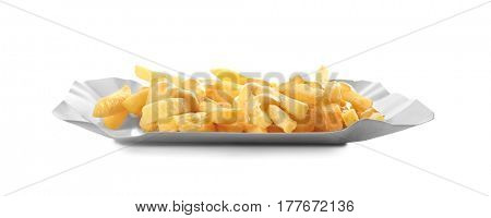 Tasty cheese fries isolated on white