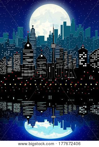 Silhouette of the city with cloudy night sky, stars and full moon and reflection in water. Vector illustration