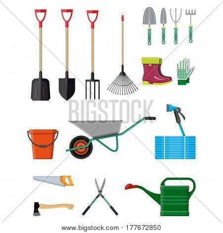 Gardening tools set. Equipment for garden. Saw bucket ax wheelbarrow hose rake can shovel secateurs gloves boots. Vector illustration in flat style