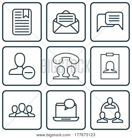 Set Of 9 Communication Icons. Includes Speaking People, Mail Notification, Remove User And Other Symbols. Beautiful Design Elements.