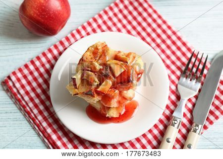 Delicious bread pudding with jam on plate