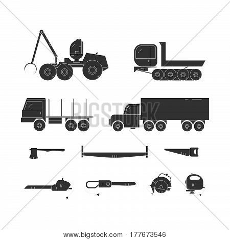 Forest industry black line icon set. Woodworking isolated vector elements. Forest harvester truck dumper truck trailer and tools. Wood transportation equipment.
