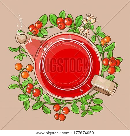 cranberry tea in teapot on color background
