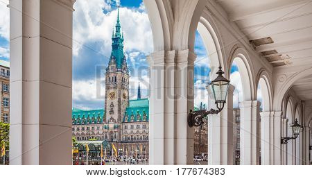 Hamburg City Center With Town Hall And Alsterarkaden, Germany