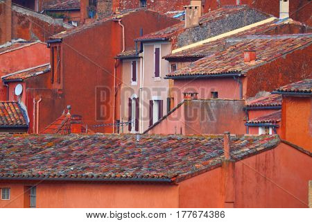 Roofs of the old city. Roussillon.Provence.France.The red tiled roofs of the old town of medieval Europe.