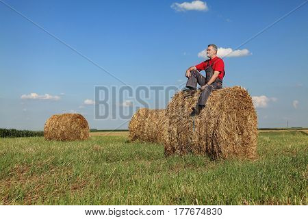 Farmer sitting at bale of hay in field